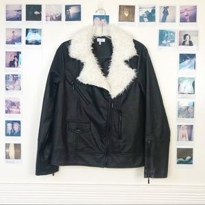 Faux Leather Faux Fur Collar Moto Jacket